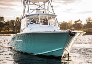 Front of custom 46' yacht